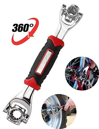 FAMI New 2PC Snap'N Grip 9-32mm Adjustable Wrench Spanner Universal Quick Multi-function … (Red and Black-1) by FAMI