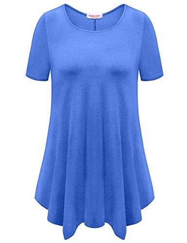 Belaroi Womens Basic Solid Loose Fit Short Sleeve Tunic T Shirt  3X  Blue