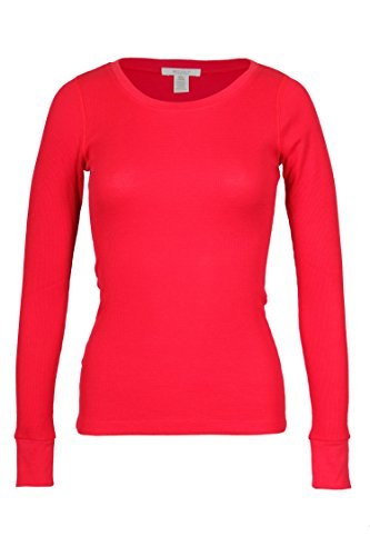 Bozzolo Women's RT1205 Waffle Thermal Crew Neck T Shirt Red Small