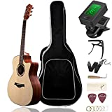 Beginner Acoustic Guitar Ranch 41' Full Size Solid Wood Cutaway Beginners Steel String Guitars Kit Bundle with Gig Bag/Tuner/Capo/Strings/Strap/Picks Set Starter Pack for Adults (Grand Auditorium)