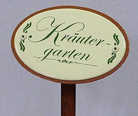 Kräuterschild Kräuterstecker Emaille Brunnenkresse Erdspieß 25 cm