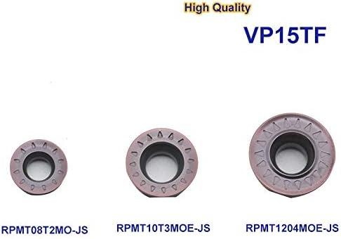 Txrh Drehbank 10pcs RPMT1204MOE RPMT 10T3 RPMT 08T2MO VP15TF Carbide Fräsen Gesicht Schaftfräser Plattendrehwerk (Cutting Edge Diameter : VP15TF, Dimensions : RPMT10T3MOE JS)