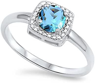 Round Simulated Aquamarine Halo & Cz .925 Sterling Silver Ring Sizes 4-10