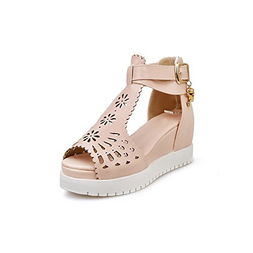 AllhqFashion Women's Zipper Open Toe High-Heels PU Solid Sandals Pink xEbKYo3