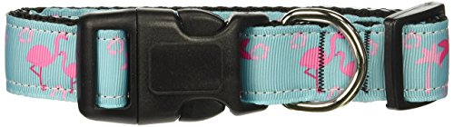 Mirage Pet Products Pink Flamingo Nylon Ribbon Dog Collar, -