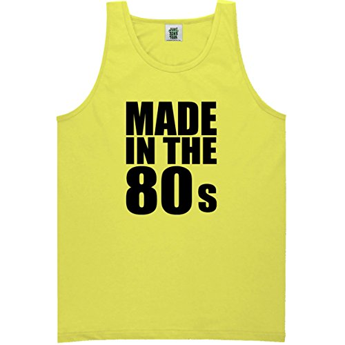 Made In The 80s Neon Yellow Tank Top - Medium (80s Clothing For Men)