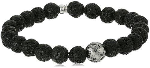 Tateossian Asteroid Ruthenium Silver Lava Beads Black Bracelet, Large by Tateossian (Image #1)
