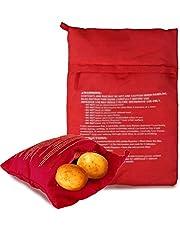 5 stycken mikrovågsugnar potatispåsar, Potato Express Bag potatis kokpåse för mikrovågsugn tvättbar och återanvändbar potatis tortillas majskolv express bakning verktyg (röd, 22 x 19 mm)