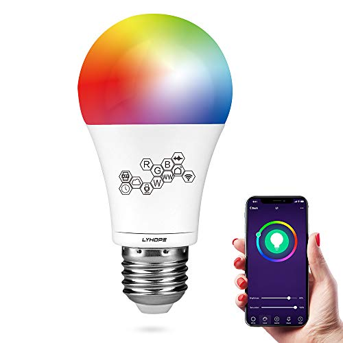 Smart WiFi Light Bulb, Lyhope RGBCW Color Changing Dimmable LED Bulbs, A26 60W Equivalent, Compatible with Amazon Alexa and Google Assistant, No Hub Required (1 Pack)