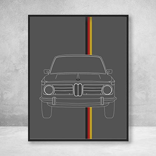 BMW 2002 Tii Ti Turbo 02 Series Outline Poster Print Wall Art Decor Handmade