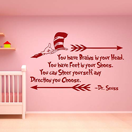 Wall Decals Dr Seuss Quotes Wall Decal Dr Seuss Decor You Have Brains in Your Head Quote Children Kids Playroom Nursery Wall Art Decor Seuss Gift Made in USA]()