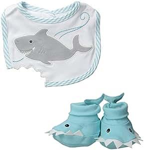 Baby Aspen Bib and Booties Gift Set , Chomp and Stomp Shark