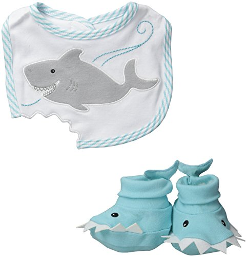 (Baby Aspen Bib and Booties Gift Set , Chomp and Stomp Shark)