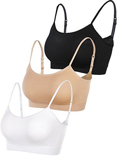 Hestya 3 Pieces Mini Camisole Bra Adjustable Bra Cami Top Elastic Bra with Straps for Big Girls (M Size, Black, White, Skin Color)