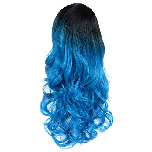 Blue Ombre Wigs Dark Roots Body Wave Middle Part Heat Resistant Synthetic Cosplay Wigs With Adjustable Wig Cap (Natural Black Ombre Blue) ()