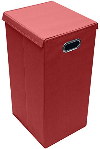 Kid Laundry (Sorbus Laundry Hamper Sorter with Lid Closure – Foldable Hamper, Detachable Lid, Portable Built-In Handles for Easy Transport – Single (Red))