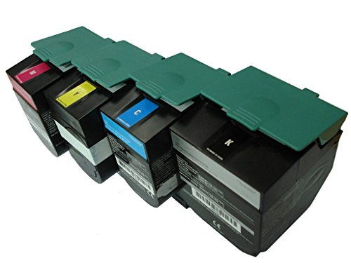 Quality Laser Toner Replacement for Lexmark C540 C543 C544 C546 C548 X544 X548 High Yield Toner Cartridge Set 2,500/2,000 Pages - Remanufactured