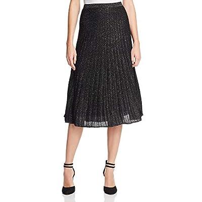 NIC+ZOE Womens Luminary Metallic Ribbed Midi Skirt