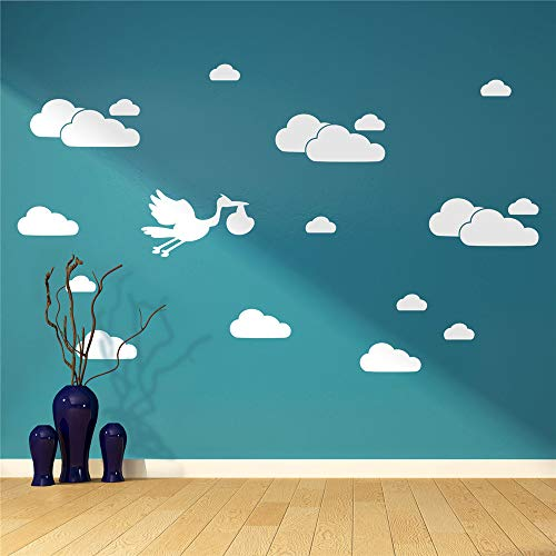 Stork Letter - Emeas Vinyl Wall Sticker Mural Bible Letter Quotes Cartoon Clouds Stork Baby Nursery Kids Children's Room Decal Bedroom