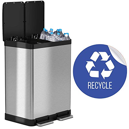 iTouchless 16 Gallon Dual Step Trash Can & Recycle Bin Stainless Steel 2 x 8 Gallon (30L) Removable Buckets with Handles, Soft-Close and Airtight - Recycle Decal Included, Silver 16 Gal