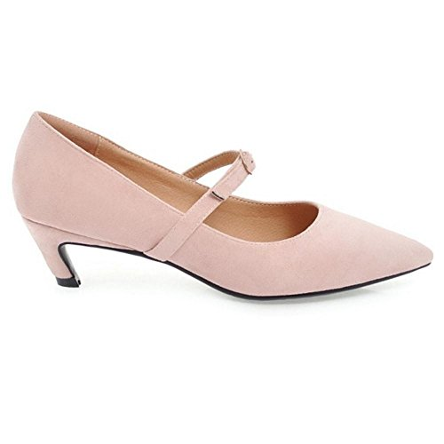Heel Pumps TAOFFEN Shoes Women Pink Toe Pointed Mid attqwEZ