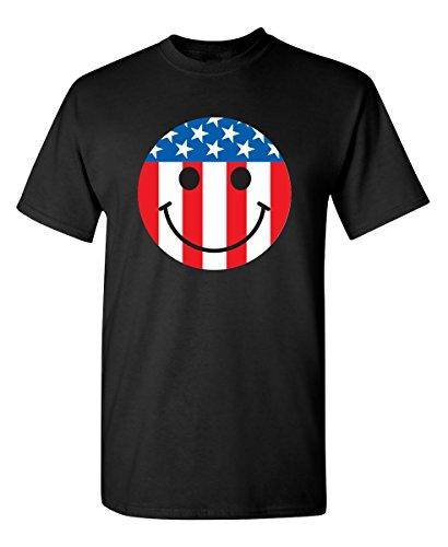 Feelin Good Tees USA Flag Smile Face Emoticon Patriotic 4th of July 2nd Amendment Funny T-Shirt L Black (Usa Emoticon)