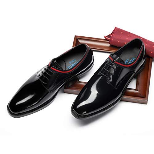 Jóvenes Boda De Encaje Trabajo Fiesta Zapatos Vestir Formales Cuero Lymyy Hombre Para Casuales Oficina Black up 5qw1C6w