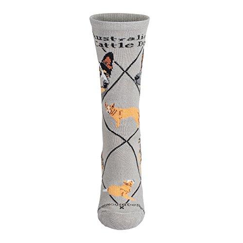 Wheel House Design Dog Breed Socks Grey (Australian Cattle)