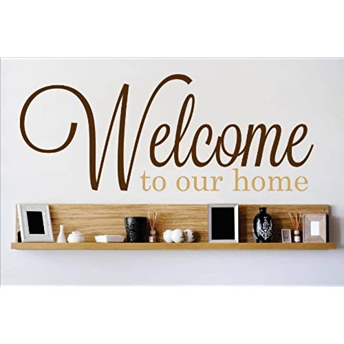 Charming Decal   Vinyl Wall Sticker : Welcome To Our Home Living Room Bedroom Quote  Home Living Room Bedroom Decor DISCOUNTED SALE ITEM   22 Colors Available  Size: 8 ...