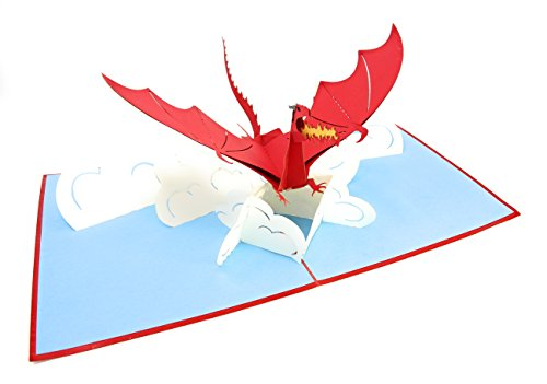 Diy Hobbit Costume (PopLife Flying Dragon 3D Pop Up Greeting Card for All Occasions - Fire Breathing, Mythical Creature, Legendary Animal - Folds Flat, Perfect for Mailing - Birthday, Get Well, Graduation,)