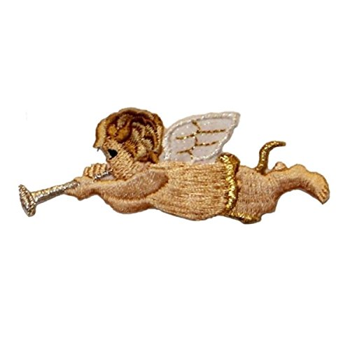 (ID 0160B Angel Playing Horn Patch Flying Music Embroidered Iron On Applique)