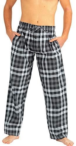 NORTY - Mens Woven Poplin Plaid Sleep Lounge Pajama Pant, Grey 40763-Large