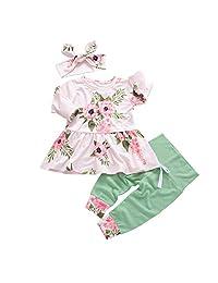 Children's Festivals Newborn Baby Floral Dress 3Pc Headband+Tops+Pants Dot Leggings Outfits Clothes Set(0 month-24 Month)