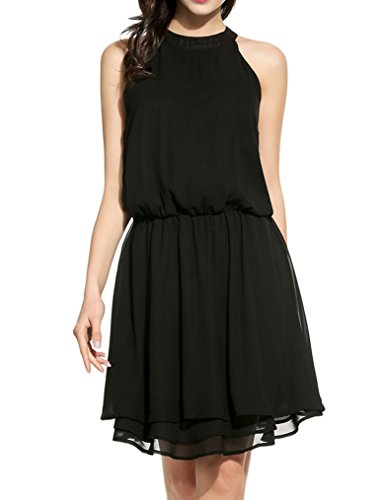 Neck Cut Out Dress (Women's Summer Chiffon Sleeveless Halter Cut Out Back A-Line Party Dress)
