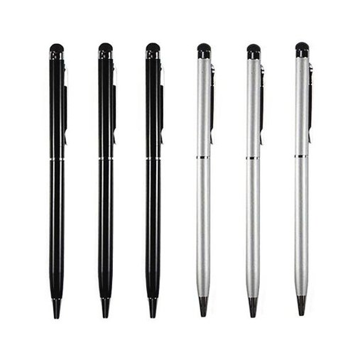 Universal 2-in-1 Touch Screen Stylus Ballpoint Pen [3 pcs Black + 3 pcs Silver] For Tablet smartphone iPad iPhone iPod Samsung LG HTC Sony PC