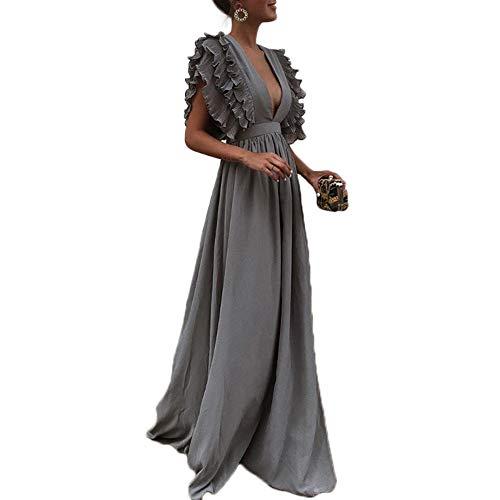 Honwenle Women Deep V-Neck Pleat Flounce Short Sleeve Maxi Formal Evening Dress