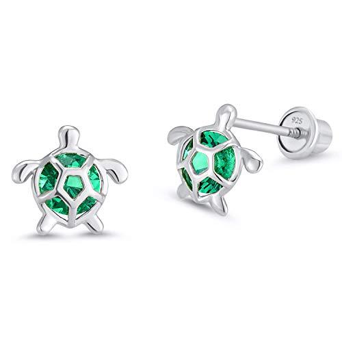 925 Sterling Silver Rhodium Plated Green Turtle Cubic Zirconia Screwback Baby Girls Earrings