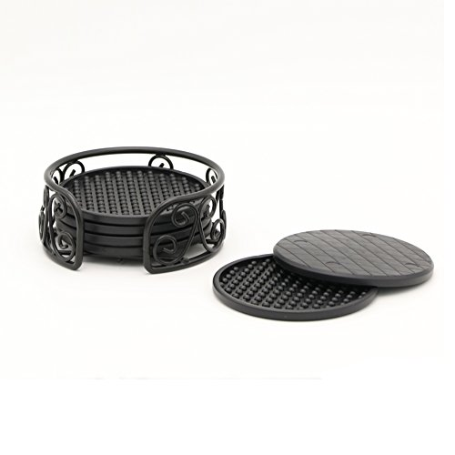 Y&M Black Water Coasters With Holder Damage Good Grip Deep Tray 4 inch (Iron Coaster Holder)