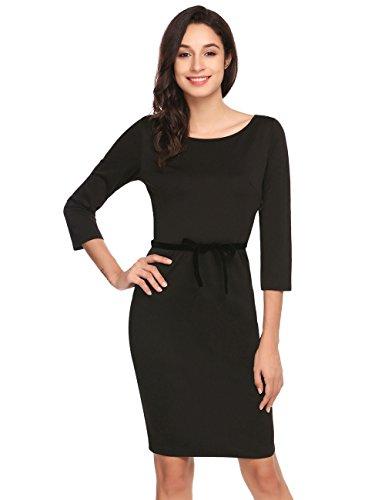 ACEVOG Damen Etuikleid Stretch 3/4Arm Kleid Bleistiftkleid Elegante ...