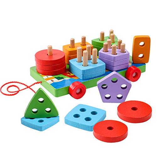 (kizh Wooden Educational Preschool Shape Color Recognition Trailers Car Geometric Board Block Stack Sort Chunky Puzzle Toys 25 pcs for 1-5 Year Old Boys Girls Kids Baby Toddlers Children )