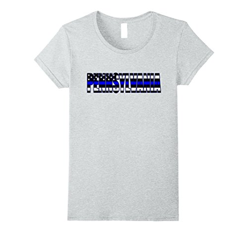 Womens Support The Police In Pennsylvania Police Flag Pd T Shirt Large Heather Grey