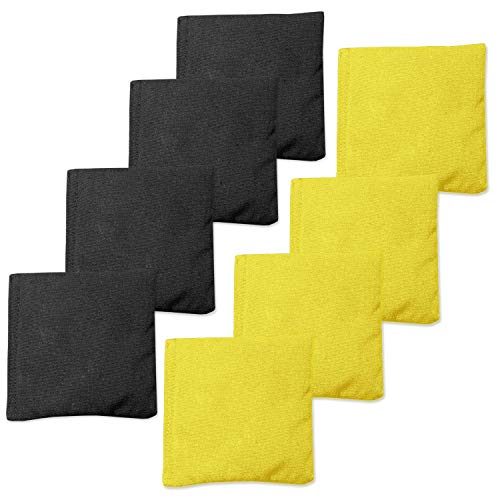Play Platoon Premium Weather Resistant Duckcloth Cornhole Bags - Set of 8 Bean Bags for Corn Hole Game - Regulation Size & Weight - 4 Yellow & 4 Black