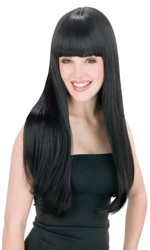 Fun World Cher Womens Pop Star Long Straight Black Wig, Standard ()