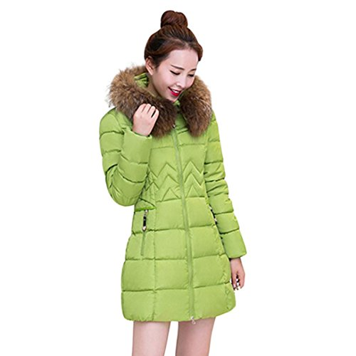 Price comparison product image TiTCool Fashion Winter Warm Womens Jacket Cotton Coat with Fur Hood Thicker Outwear (Green,  3XL)