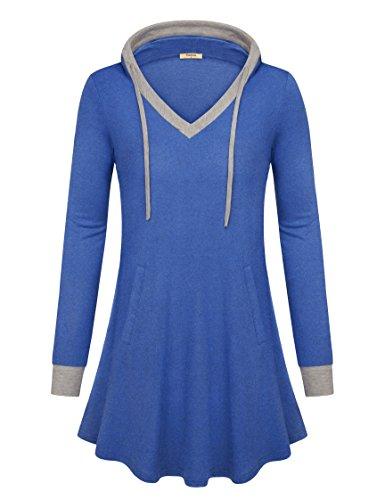 Timeson Plus Size Clothing For Women  Womens Long Sleeve Casual Tunic Sweatshirt V Neck Lightweight Fall Sweatshirt Tunics With Side Pocket Royal Blue Xx Large