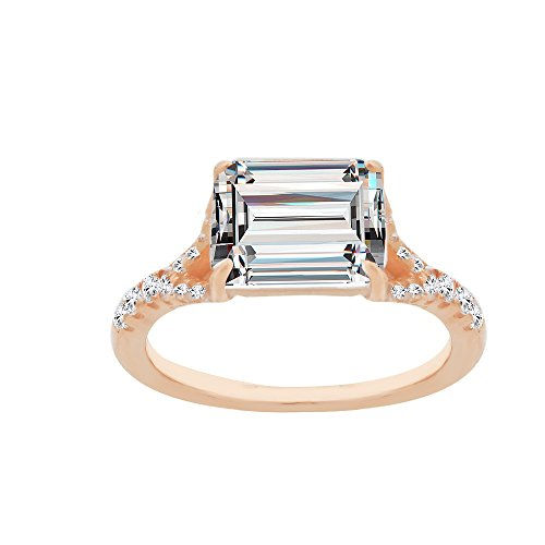 Quality Jewels Sterling Silver Cubic Zirconia Fancy Ring with Fancy Center Rectangle CZ Stone, Choice of Colors (Rose-Gold-and-Sterling-Silver, 7)