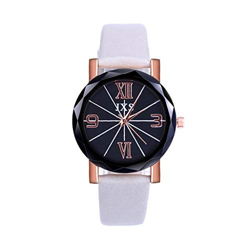 Amaping Women Fashion Luxury Leisure Leather Strap Wristwatch Delicate Multi Edge Cutting Dial Plate Simple Elegant Design (Gray)