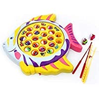 west feen Kids Fishing Game, Musical and Rotating Toy with 16 Fishes and 3 Rods for Kids Above 3 Years