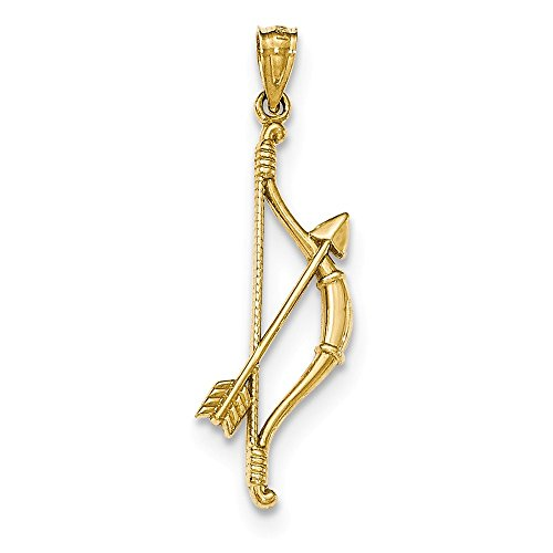 14k Solid Yellow Gold Gold Polished and Textured Bow and Arrow - Arrow Mia