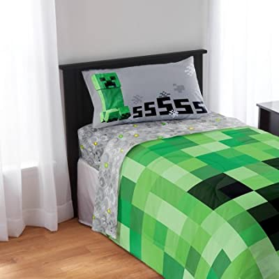 Minecraft Bedding Sheet Set - Pillow Case, Fitted Sheet, and Standard Sheet from Minecraft